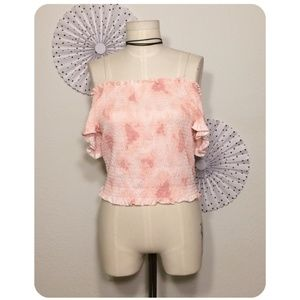 NWT Pink Shirred Off Shoulder Crop Top